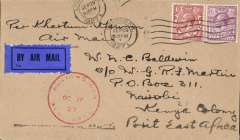 "(GB External) Gladstone cover from London franked  7 1/2d canc. London cds to Nairobi arrival ds 18/10, carried on Capt. Tony Gladstone's second ""Pelican"" service from Khartoum to Kisumu, arrival ds 17/10, bears red circular ""Keyna-Sudan Air Mail/Oct 17 /27"" ds, ms ""per Khartoum-Kisumu Air Mail"", tan cover addressed c/o GR Martin who, according to the 1933 Colonial List, was Asst. PMG in Uganda. Rated 160 pts. by Newall #27.19c. Francis Field authentication hs verso."