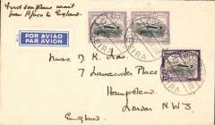 (Mozambique) Beira to London, inauguration of the Imperial Airways Flying Boat Service, first acceptance of northbound mails, carried by Imperial Airways 'Challenger', Savoy Hotel, Beira cover,  franked 4E50 canc Beira cds, ms 'First Seaplane Mail/from Africa to England'. Small mail.