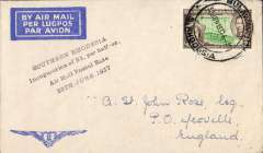 """(Southern Rhodesia) Inauguration of 1st stage of the Empire ir Mail Scheme, Bulawayo to London, bs 7/7, IAW cream/blue souvenir cover with 'winged' logo franked 2d, printed """"Southern Rhodesia/Inauguration of 2d per half-oz/Air Mail Postal Rate/30th June 1937"""". The Rhodesias and Nyasaland became EAMS participants at a 2d per 1/2 oz rate compared with everyone else at 1 1/2d."""