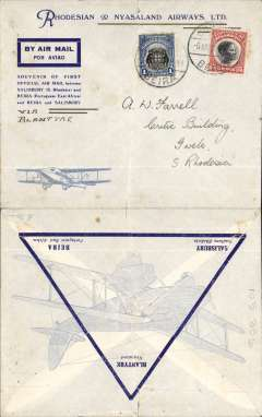 (Mozambique) First official airmail from Portuguese East Africa to Nyasaland, Beira to Blantyre, bs 6/8, blue/grey imprint etiquette cover, franked 1E and 85c Mozambique Company stamps, violet st line 'Rhodesia and Nyasaland Airways Ltd (RANA) hs.