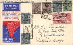 (India) First acceptance of Indian mail for Belgian Congo, Calcutta to Elisabethville, bs 20/7, via Cairo 14/7 and Broken Hill 20/2, for carriage on the first return of ITCA Trans Indian flight from Calcutta via Asansol, Allahabad, Cawnpore, Delhi and Jodhpur to Karachi, connecting with IAW Karachi-London flight IW 185, then at Cairo with IAW London-Cape Town flight AS 86 (see Wingent), and at Broken Hill with the Aero Club de Katanga regular feeder service to Elisabethville, red/white/blue IAW/ITCA souvenir cover addressed to LA Wyndham, franked 13 1/2 annas, canc Calcutta cds, black boxed  'Calcutta-Karachi/11 Jly 33/First Airmail' cachet verso. Only a few covers flown.