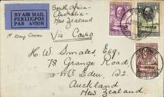 (Bechuanaland) Serowe to New Zealand via Cairo 10/12, first acceptance of African 'all the way' airmail for New Zealand for carriage on the Imperial Airways  African service to Cairo, to connect with the first extension of the IIA/ITCA/Qantas service from Singapore to Brisbane, plain cover correctly franked 1/8d, canc Serowe 1 Dec 34 cds. By sea from Brisbane to Auckland. Very scarce.