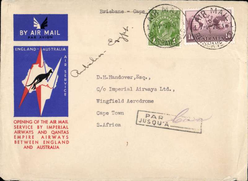 (Australia) First acceptance of mail for South Africa, Brisbane to Cape Town, via Cairo 22/12, carried on first regular Imperial Airways/Qantas Australia-England service, souvenir red/white/blue 'Kangaroo' company cover, franked 1/6d & 1d, canc Brisbane/Airmail cds 7/12, The cover was incorrectly given the 'Par Avon Jusqu'a Cairo' as the airmail service to Cape Town was available.