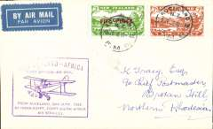"(New Zealand) Auckland to Broken Hill bs 5/8, New Zealand acceptance for the Cairo-Cape route, airmail etiquette cover franked 10d, violet boxed ""New Zealand- Africa/First Official Air Mail/from Auckland 30th June 1932/by India-Egypt, Egypt-South Africa/Air Services"" cachet, Imperial Airways, NZAMS confirmation cachet verso. Scarce."