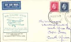 (New Zealand) First NZ acceptance from Christchurch via the Wellington dispatch for the Imperial Airways African service, green New Zealand-Africa cachet applied at Wellington, addressed to Cape Town, bs 21/8, franked 1/2d,  NZAMS confirmation cachet verso. Covers from the Wellington dispatch are much scarcer, see Walker, p129.