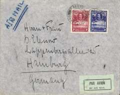 "(Sierra Leone) Freetown to Hamburg, airmail etiquette cover franked 1/3d carried by the Air France twice weekly service to France via Dakar and Toulouse, framed ""Attention/Utilisez le Service Aeren/AIR-FRANCE/ Depart de France Dimanche ........."" verso.  Uncommon, as most air mail from the British Colonies in Africa was carried by Imperial Airways."