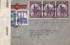 (Belgian Congo) American-African Air Ferry Service, WWII, censored cover from Gombari, A.G.Mission to Springfield, MO, USA, imprint etiquette co franked 18F to include local postage and 15c airmail fee, sealed Congo censor tape. Flown before the commencement of FAM22. Likely route Sabena to Takoradi, BOAC to Bathurst via Lagos, then Atlantic Air Ferries to Miami. Uncommon and interesting item.