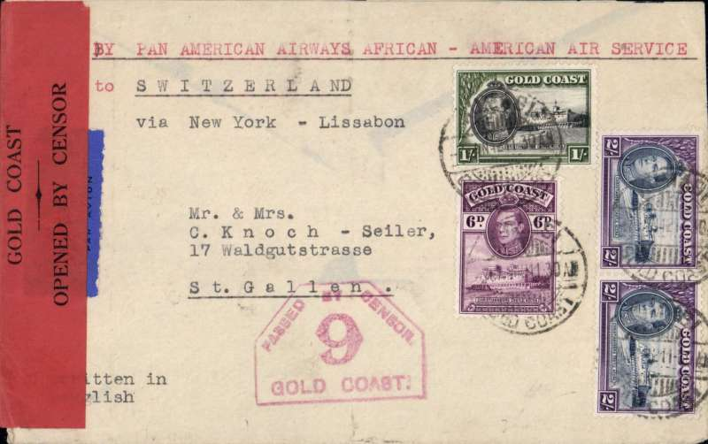 """(Gold Coast) World War II censored air cover to Switzerland, plain cover franked 5/6d, typed """"African/American Air Service to Switzerland/via New Yo"""", sealed with red/black """"Passed by Censor/5/Gold Coast"""" censor tape, also red hexagonal ''PBC/9/Gold Coast' censor mark. Correctly rated for the """"twice across the Atlantic"""" route - FAM22 to New York, then Pan Am back to Lisbon, then KLM/BOAC to London, see Boyle p709. A nice TransPacific and TransAtlantic item."""