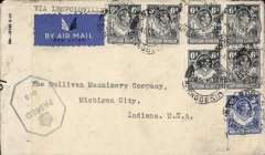(Northern Rhodesia) WWII censored airmail cover, Ndola to Michigan, USA, via the all air Pan Am FAM 22 West Africa-Brazil-Miami service, plain airmail etiquette cover, correctly rated 3/6d canc Ndola cds, typed 'Via Leopoldville', sealed B&W OBC O/ PC90 Southern Rhodesia censor tape, tied by blue hexagonal' Crown over Passed/05 SR censor mark. Carried by FAM 22 to Miami, then US internal air service to final destination. A nice wartime item.