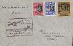 """(Gambia) Gambia to Great Britain, first official acceptance of mail from Gambia for carriage via the German air service,  Bathurst to London, and on to Lorch, Germany, bs 13/11,  carried on the German trans Atlantic catapult service flight L 34 from Brazil to Germany, plain commercial cover, franked KGV 1/4 1/2d to pay the 1/2 oz rate, canc Bathurst cds, typed 'Only by German Air Mail', nice strike special black framed """"First Airmail/Gambia-England"""" wth plane overhead hand stamp cut out of linoleum by an official of the Gambia PO."""