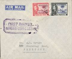 """(Gambia) First return flight, Bathurst to Freetown (Sierra Leone), bs 27/6, violet  boxed """"First Airmail Gambia -Sierra Leone"""" cachet,  printed """"par avion"""" air letter."""