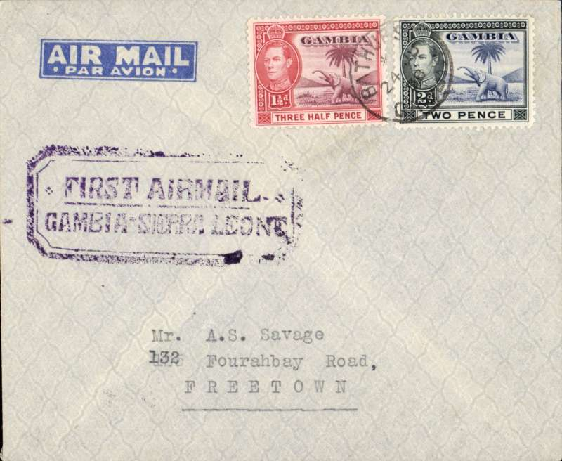 "(Gambia) First return flight, Bathurst to Freetown (Sierra Leone), bs 27/6, violet  boxed ""First Airmail Gambia -Sierra Leone"" cachet,  printed ""par avion"" air letter."