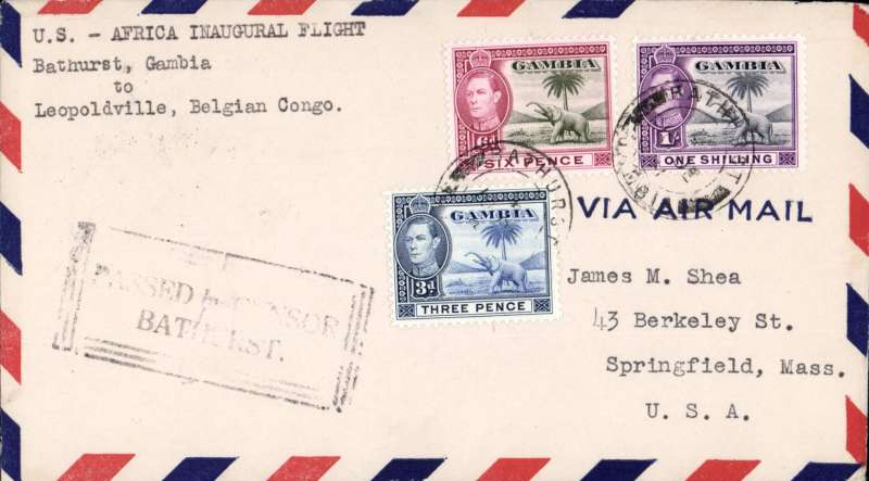 """(Gambia) F/F FAM 22  Bathurst to Leopoldville,"""" America-Africa Ferry """"cachet, b/s, Pan Am"""
