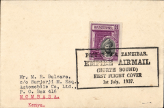 "(Zanzibar) Imperial Airways, F/F First Stage EAMS, Zanzibar to Mombassa, no bs, plain cover franked 20c, canc black boxed ""Post Office Zanzibar Empire Airmail North Bound First Flight Cover 3rd July 1937"" cachet."