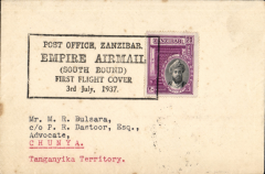 "(Zanzibar) Imperial Airways, F/F First Stage EAMS, Zanzibar to Chunya, bs 9/7, plain cover franked 20c, canc black boxed ""Post Office Zanzibar Empire Airmail Southbound First Flight Cover 3rd July 1937"" cachet."