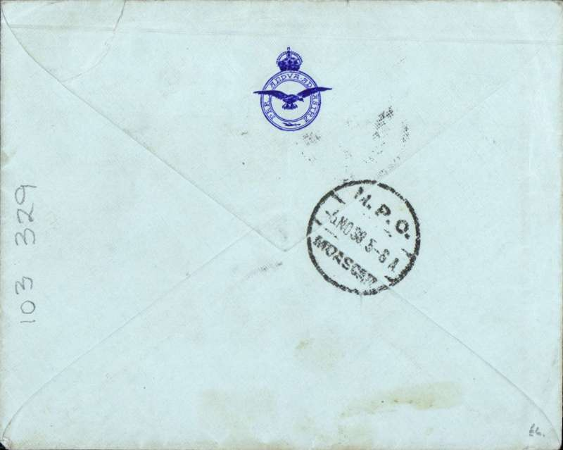 (Egypt) Scarce experimental flight from Cairo to Darwin, pale blue RAF cover with 'Per Ardua Ad Astra' logo on flap, franked Egypt 5ml canc MPO 5 NO 38/5-6A MOASCAR cds, and cancelled on arrival Darwin 7 Nov cds tying Australia 5d, ms 'By RAF long range development/unit - Ismalia to Australia'. One of only ten flown.