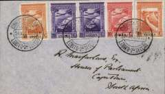 (Portuguese Angola) First West Coast Flight, Lobito to Cape Town, bs 26/8, carried on the return of the first SAA direct service Lobito-Windhoek, then on the Kalahari feeder extension to Jo'burg, plain cover franked 1A90c. Only three flights on this service before war broke out when service was abandoned due to lack of support.  Francis Field authentication hs verso.