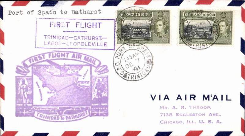 (Trinidad) F/F FAM 22, Port of Spain to Bathurst, violet cachet, b/s.  F/F  South Atlantic flight by Pan American Airways inaugurated day before out break of  WW II, Pan Am