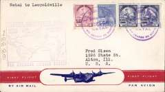 (Brazil) F/F FAM 22  Natal to Leopoldville, purple cachet, b/s, airmail cover, Pan Am