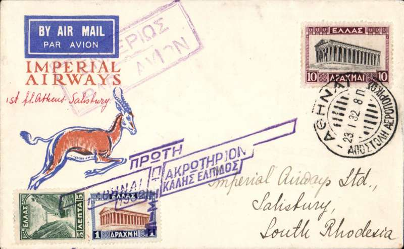 (Greece) Imperial Airways, F/F Athens to Salisbury, bs 31/1, Sprinbok souvenir cover franked 16Dr, canc Athens 23 1 32 dispatch cds, special violet 'winged' Athens-Salisbury 235G Godden flight cachet, violet framed 'airmail' hs.