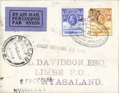 "(Basutoland) The Visit of HRH Prince George to Southern Africa, first acceptance of mail from Basutoland for carriage on the F/F R.A.N.A. Southern Rhodesia-Nyasaland service, Maseru to Limbe, bs 9/3, via Blantyre 9/3, airmail cover franked 9d Basutoland stamps canc with special postmark of the PO attached to the Royal Train used by HRH Prince George during his visit to Southern Africa, also Maseru cds, black two line 'S.Rhodesia/Nyasaland' and violet st. line 'First Official Air Mail' hand stamps. ""F/F mail from countries other than S. Rhodesia and the Union was very small because the flight was not announced outside Nyasaland and S. Rhodesia and even then only seven days notice was given"".....""The most desirable covers are those posted on the Royal Train while it was in Basutoland and in the Union. The train was only in Basutoland one day and even the ordinary mail there from is scarce. See South African Air Mails, Morton D.G., 2005, p25. A rare cover in fine condition."
