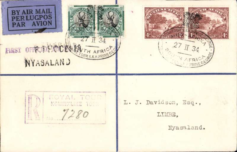"(South Africa) The Visit of HRH Prince George to Southern Africa, first acceptance of mail from South Africa via the Royal Train for the RANA F/F from Southern Rhodesia to Nyasaland, bs Limbe 9/3, via Blantyre 9/3 registered (hs) cover franked  9d South Africa stamps, canc  fine strikes black oval crown over bilingual 'Royal Tour HRH Prince George/6-II 34/South Africa"" postmarks, blue/black airmail etiquette, and violet two line ""All The Way/First Official Air Mail"" and black two line ""S.Rhodesia/Nyasaland"" cachets. The flight was not announced outside Nyasaland and S. Rhodesia and even then only seven days notice was given. ""The most desirable covers are those posted on Prince George's Royal Train while it was in Basutoland and in the Union"". See South African Air Mails, Morton D.G., 2005, p25.  A scarce item in fine condition."