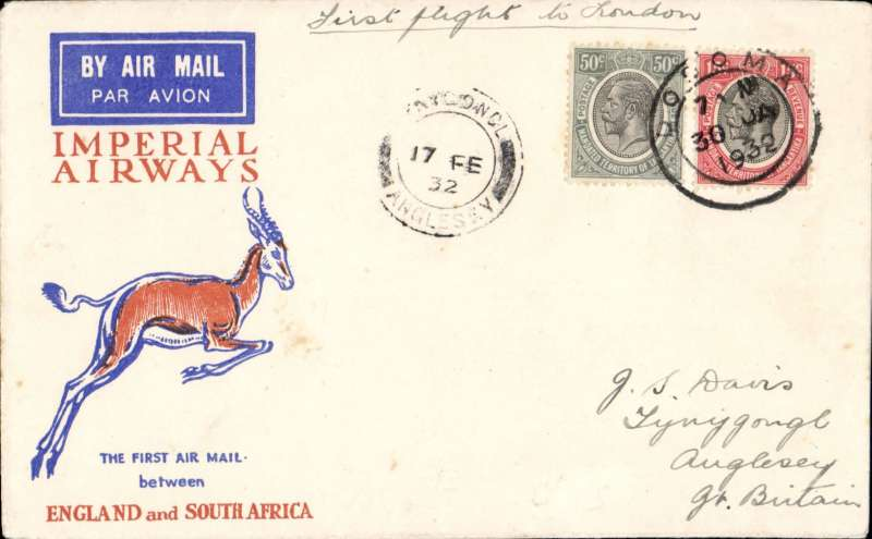(Tanganyika) Imperial Airways 1st flight Dodoma to England, Anglesey 17/2 arrival ds on front., Springbok cover franked 65c, canc Dodoma cds, ms 'First flight to London', The flight from Cape Town was interrupted twice, first when a wheel was damaged on take off from Salisbury, and again when bad weather forced the plane to  land in a swamp near Broken Hill, ref Ni 320129 and 320129B.