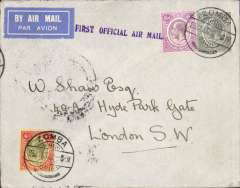"(Nyasaland) Nyasaland Feeder Services, Cape to Cairo route, Zomba to London, via Salisbury 27/1, airmail etiquette cover franked Nyasaland 8 points 1/- canc Zomba cds, ""First Official Airmail"" hand stamp. Originally airmail was carried overland to Salisbury, Southern Rhodesia but in 1935 a new air service to Beira on a triangular route via Blantyre was introduced , and mail was accepted from Mozambique and Nyasaland."