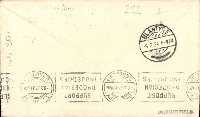 "(Nyasaland) F/F Limbe to Salisbury, b/s 8/3, Tunstall cover franked 8d, black boxed three line ""First Flight Regular Air Mail Service Nyasaland-Southern Rhodesia"" cachet , Rhodesia and Nyasaland Airways. Francis Field authentication hs verso."
