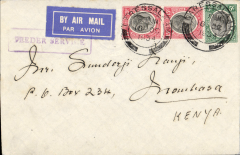 (Tanganyika) Dar es Salaam to Mombassa, nice example of commercial mail carried on the coastal feeder service operated by Wilson Airways Ltd, etiquette cover correctly rated 35 cents, that rate being introduced with effect from March 1st 1932. Boxed boxed feeder service handstamp used in Tanganyika.