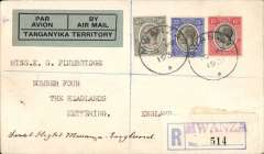 (Tanganyika) First airmail from East Africa, Mwanza to London, bs 20/3 registered cover correctly rated 90c (60c ordinary + 30c reg), canc Mwanza cds, green/blue 'Par Avion by Air Mail/Tanganyika Territory' label.