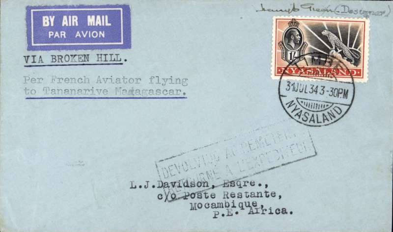 """(Interruptions and accidents) F/F, Broken Hill to Mozambique, bs 3/8, French feeder service SNAM to Madagascar, typed endorsement """"Via Broken Hill """" & """"Per French Aviator flying/to Tananarive Madagascar"""", etiquette cover franked 1/- Leopard. Flown by Assolant and Lefevre, flight interrupted by accident between Broken Hill and Tete. Cover autographed by Major H.E.Green designer of the Leopard type stamps.Very fine and scarce. Map route photo enclosed."""