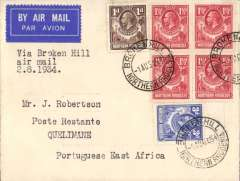 """(Northern Rhodesia) F/F, Broken Hill to Quelimane, bs 2/8, French feeder service to Madagascar, typed endorsement """"Via Broken Hill Air Mail 2/8/34"""" plain Robertson cover, franked 10d, Service de la Navigation de Madagascar.  Flown by Assolant and Lefevre, flight interrupted by accident between Broken Hill and Tete. Scarce."""
