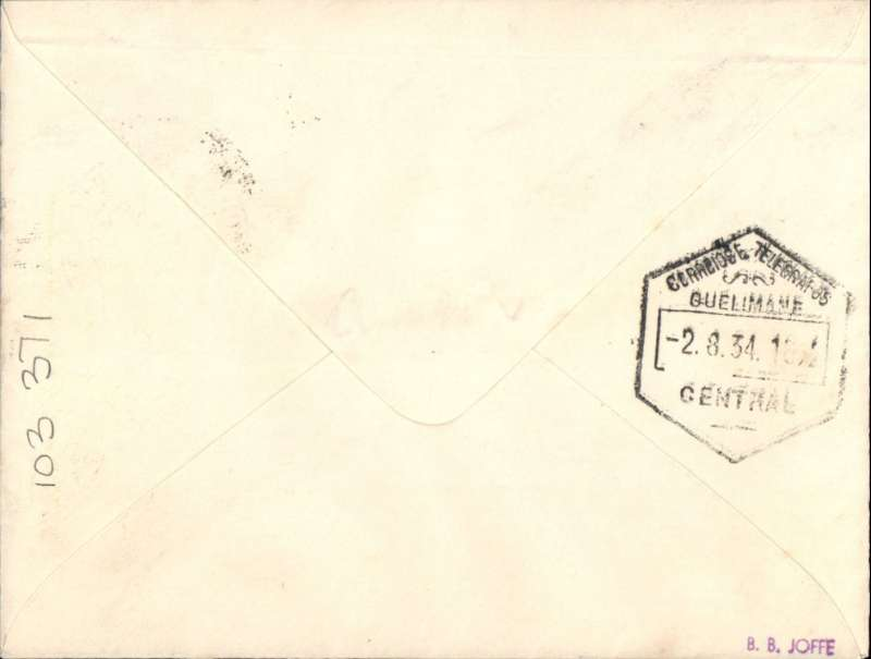 """(Interruptions and Accidents) F/F, Broken Hill to Quelimane, bs 2/8, French feeder service to Madagascar, typed endorsement """"Via Broken Hill Air Mail 2/8/34"""" plain Robertson cover, franked 10d, Service de la Navigation de Madagascar.  Flown by Assolant and Lefevre, flight interrupted by accident between Broken Hill and Tete. Scarce."""