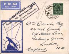 "(Nyasaland) First acceptance of northbound mail from Salisbury, Blantyre to London, bs 19/3, official cachet, Wheatcroft  ""leopard silhouette"" cover, carried on RANA F/F Blantyre to Salisbury, then on IAW Cape to London  flight # AN 157, see Wngent p55, RANA/IAW."