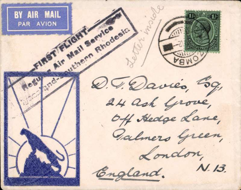 """(Nyasaland) First acceptance of northbound mail from Salisbury, Blantyre to London, bs 19/3, official cachet, Wheatcroft  """"leopard silhouette"""" cover, carried on RANA F/F Blantyre to Salisbury, then on IAW Cape to London  flight # AN 157, see Wngent p55, RANA/IAW."""