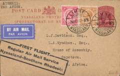 (Nyasaland) The Nyasaland Feeder Service, Limbe to Cape Town, bs 'Houses of Parliament/12 Mar 34/Parlementshuis', via Salisbury 8/3, Wyndham 1d PSC uprated to 3 1/2d addressed to the House of Assembly, Cape Town, super strike three line 'First Flight/Regular Air Mail Service/Nyasaland-Southern Rhodesia'. Francis Field authentication hs verso