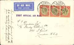 "(Nyasaland) First acceptance of mail from Nyasaland for London, to connect with Imperial Airways inaugural Cape Town-London service, airmail etiquette cover correctly rated 1/- (2d postage+10d air fee) canc Limbe cds, violet one line ""First Official Air Mail"" flight cachet. Sent by rail from Limbe to Salisbury, bs 27/1, via Beira, then IAW to London. The flight was INTERRUPTED twice. First the City of Basra was damaged at take of at Salisbury and mail transferred to the City of Delhi which, in turn, had to make an emergency landing due to bad weather near Broken Hill,  when mail was transferred once more, this time to the City of Baghdad on Feb 6th, ref Ni 320129 and 320129B."