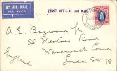 (Southern Rhodesia) Gatooma-Salisbury 27/2 -London, carried Imperial AW F/F Cape Town-London, plain cover franked 10d, violet F/F cachet. Non invasive ironed vertical crease. See image.