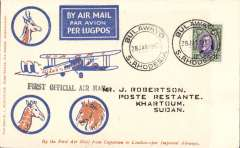 """(Southern Rhodesia) F/F Bulawayo to Khartoum, b/s 10/2, carried on 1st regular Cape Town- London service, st. line """"First Official Air Mail"""" cachet, Robertson cover, Imperial Airways. Small mail, uncommon cover."""