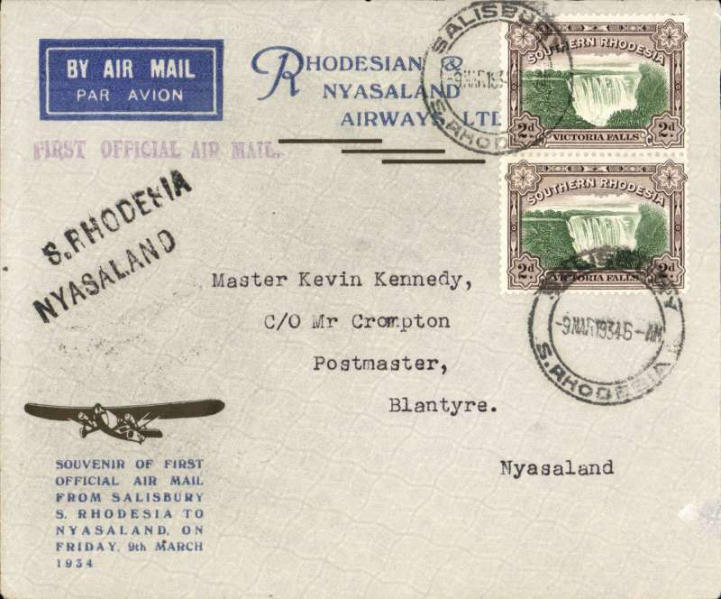 """(Southern Rhodesia) RANA F/F Salisbury to Blantyre, bs 9/3, black two line """"S Rhodesia Nyasaland"""" hs's, violet 'First Official Air Mail', official souvenir  cover with trimotor silhouette franked 4d."""
