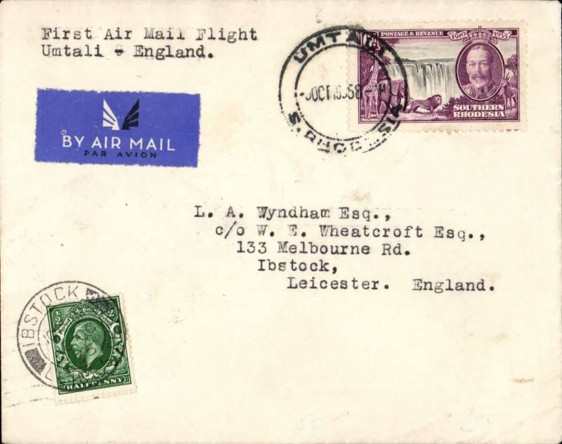 (Southern Rhodesia) Rhodesia and Nyasaland Airways, carried to England, Ibstock 18/10 arrval ds on the front on the first internal flight, Umtali to Salisbury on Salisbury-Beira route, b/s 5/10, Wyndham cover franked 6d, canc Umtali cds, etiquette, typed 'First Air Mail Flight/Umtali to England'. At Salisbury it would have connected with Flight No AN 280 on the 9th arriving at Croydon on the 17th. Only 15 flown from Umtali to Salisbury. Francis Field authentication hs verso. A superb item in fine condition.