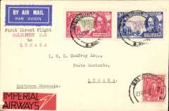 """(Southern Rhodesia) Imperial Airways first direct flight from Southern Rhodesia to Northern Rhodesia, Salisbury to Lusaka, bs 19/5, Godfrey airmail etiquette cover, franked 5d, canc Salisbury cds, typed """"First Direct Air Mail between/Salisbury S.R./to Lusaka', uncommon red/black 'Imperial Airways' logo label on front. Francis Field authentication hs verso."""