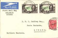 """(Southern Rhodesia) Imperial Airways first direct flight from Southern Rhodesia to Northern Rhodesia, Bulawayo to Lusaka, bs 19/5, Godfrey airmail etiquette cover, franked 5d, canc Bulawayo cds, typed """"First Mail Bag/Bulawayo/Lusaka'. Francis Field authentication hs verso."""