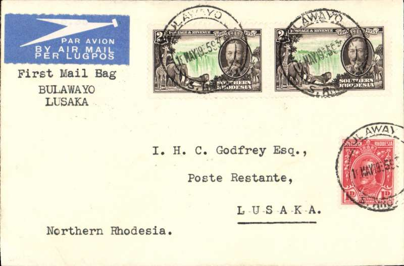 "(Southern Rhodesia) Imperial Airways first direct flight from Southern Rhodesia to Northern Rhodesia, Bulawayo to Lusaka, bs 19/5, Godfrey airmail etiquette cover, franked 5d, canc Bulawayo cds, typed ""First Mail Bag/Bulawayo/Lusaka'. Francis Field authentication hs verso."