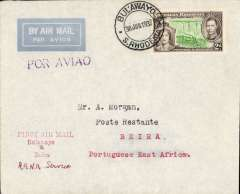 """(Southern Rhodesia) First direct flight Bulawayo to Beira by RANA to Beira, b/s 30/6, red three line cachet, violet """"Por Avio"""" hs, printed etiquette cover franked 2d, Francis Field authentication hs verso. This flight connected with the Flying Boat service from Durban but only 25 covers were flown to Beira (ref. Stern).This fight is recorded in but a few of the standard works of reference."""