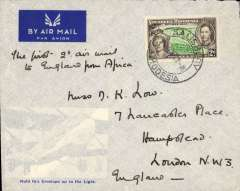 (Southern Rhodesia) First acceptance for England for carriage on the new Empire Air Mail Scheme, Salisbury to London, souvenir 'Hold this Envelope up to the Light' cover showing picture of air liner Heracles, franked 2d, ms 'The First 2d air mail/to England from Africa'. The Rhodesias and Nyasaland became participating countries in the Empire Air Mail Scheme at the end of 1937 with a rate of 2d per 1/2 oz.The majority of the other participating countries fixed their rate at 1 1/2 per 1/2 oz.