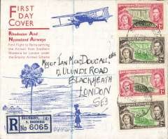 "(Southern Rhodesia) EAMS, first acceptance of mail for England under the Empire Airmail Scheme, carried on the F/F RANA Salisbury to Beira for carriage on the new Empire Air Mail Scheme, Salisbury to London, bs oval Registered Blackheath 7 JY 37, attractive red/white/blue registered (label) souvenir cover with picture of biplane printed ""First Day Cover/RANA/F/F to Beira carrying Airmail from Southern Rhodesia for London under EAMS"", franked 6d, canc Salisbury cds. Attracrive item."