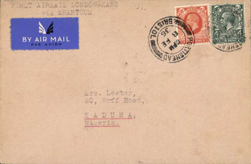 (GB External) London to Kaduna, bs 18/2, carried on Imperial Airways new  London-Kano service via Khartoum, airmail etiquette cover franked 6d, Imperial AW/Elders AL.  See West African Airmails, The McCaig and Porter Collections, Priddy, B., West Africa Study Circle, 2012.