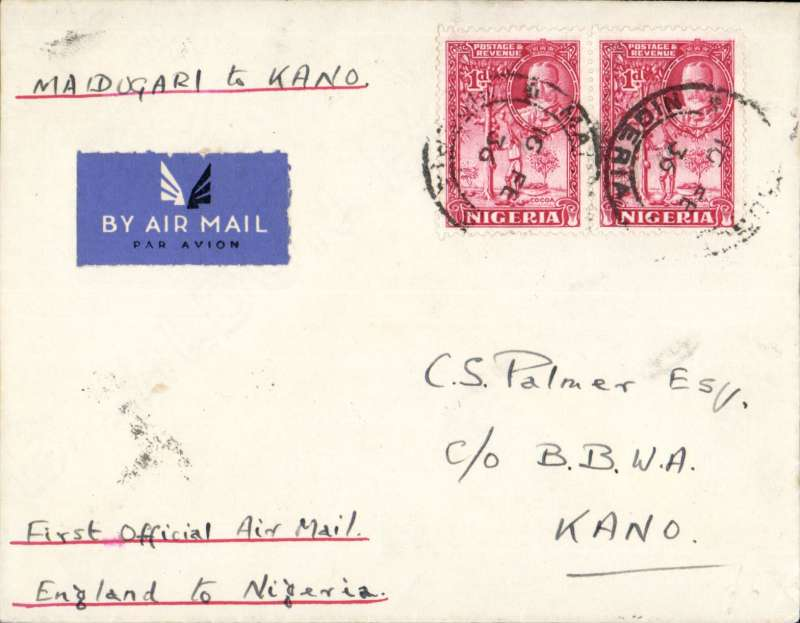 """(Nigeria) First airmail service outside Nigeria, Maiduguri to London,  plain etiquette cover, correctly rated 2d, ms """"Maiduguri to Kano, bs 16/2, First Official Air Mail/England to Nigeria"""", carried on F/F Elders Colonial AW/Imperial AW.  Only small mail from Miaduguri, see also Priddy, p18."""